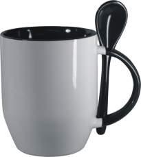 Hrnček s lyžičkou-čierny