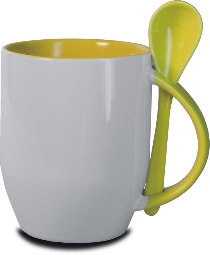 Hrnček s lyžičkou-žltý